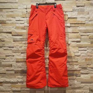 North Face Womens Small Orange Ski Snow Pants Bibs Snowboard Winter Snowsuit Bib
